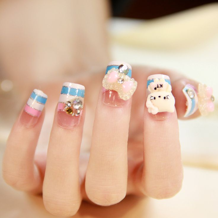 18 best fake nails images on pinterest fake nail designs almond new 2014 fashion japanese 3d nails full cover short design artificial kitty fake nail24 prinsesfo Images