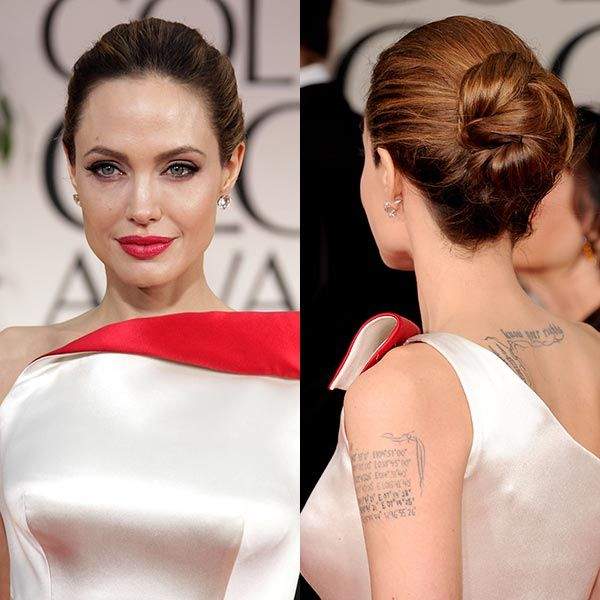 Angelina Jolie at the Golden Globes in 2012. The Maleficent actress was the epitome of elegance as she arrived for the ceremony with husband Brad Pitt. We love the chic twisted bun she chose for the night - a simple and striking red carpet classic.