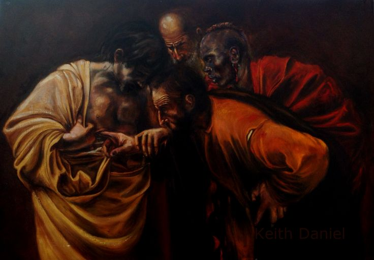 The incredulous Thomas- Keith Daniel version of Caravaggio's  painting. Work in progress. Oil on canvas  100 cm x 70 cm