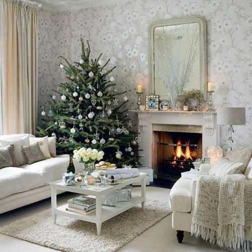 It doesn't have to be red and green.: Holiday, Decorating Idea, Ideas, Living Rooms, Christmas Decoration, Livingroom, White Christmas, Christmas Trees