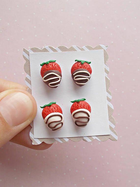 Food Earrings Set  Strawberry Earrings  Fruit Earrings