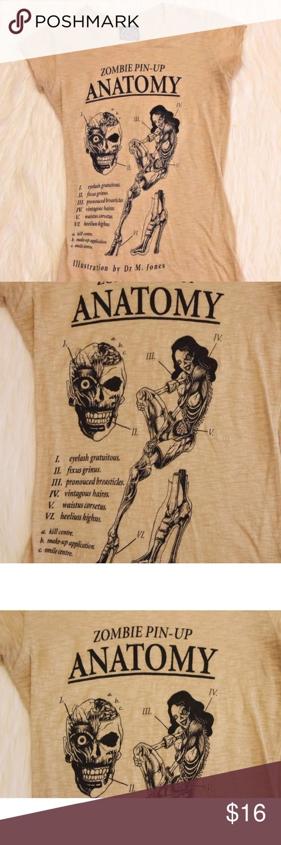 "Zombie Anatomy Pin Up T Shirt Too Fast  Cirque Couture T-Shirt  Zombie Pin Up Anatomy  Medium  Chest 15.5""  Length 24.5"" 100% Cotton  Gently Worn From a smoke free and pet friendly home too fast Tops Tees - Short Sleeve"