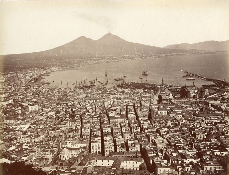 Roberto Rive - Naples from San Martino (we can see Vesuvium in background), 1865
