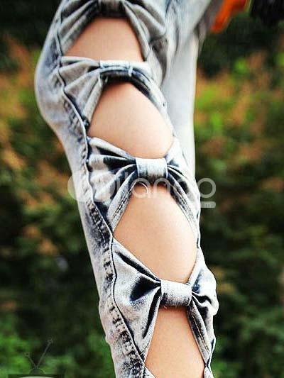 Unique Side Cut Out Bow Woman's Jeans - Milanoo.com