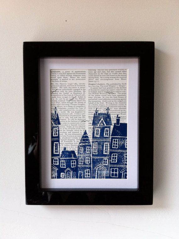 Victorian Townhouse lino print. This linocut print would look fantastic on your wall or would make a super gift.