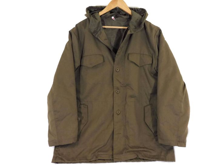 VTG 90s Hooded Army Jacket - Medium - Unisex - Military Jacket - Militaria - Field Jacket - Combat Jacket - Army Green - Vintage Clothing by BLACKMAGIKA on Etsy