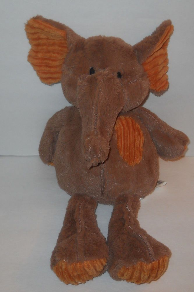 "Pier 1 One Imports Elephant Plush Corduroy Brown Orange Bean Bag 14"" Sewn Eyes  #Pier1Imports"