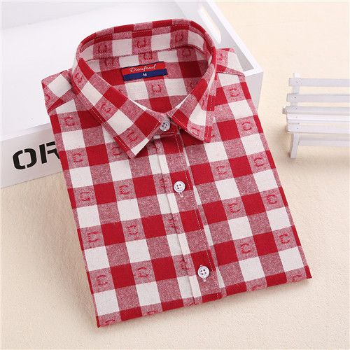 Brand Winter Blouse Plaid Shirt Women Chemisier Femme Long Sleeve Womens Flannel Shirts Women Tops and Blouses New Fashion