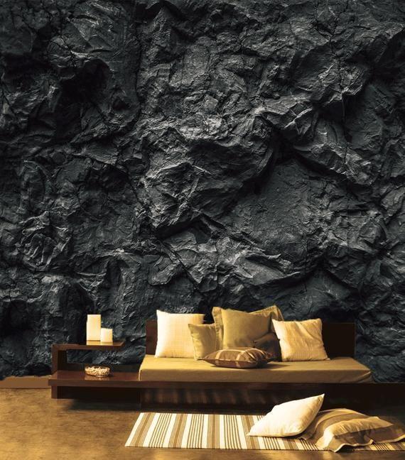 Dark Wall Mural For Living Room Black Stone Wall Removable Wallpaper Black Texture Self Adhesive Large Wallpa In 2020 Large Wall Decor Large Wall Murals Wall Wallpaper