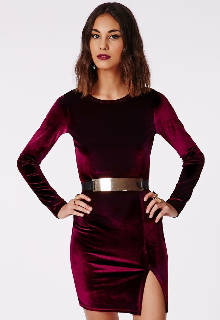 Missguided - Larkin Velvet Bodycon Dress Burgundy