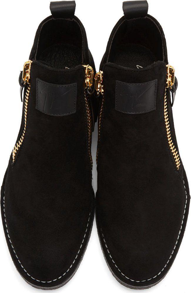 Giuseppe Zanotti Black Suede Zip-Up Parr Boots