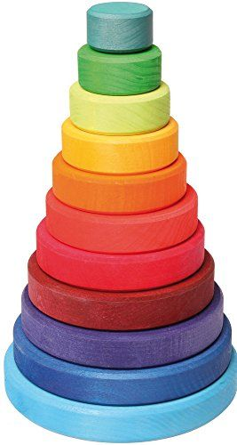 Grimm's Large Wooden Conical Stacking Tower, 11-Piece Rainbow Colored Stacker, Made in Germany | $37.00