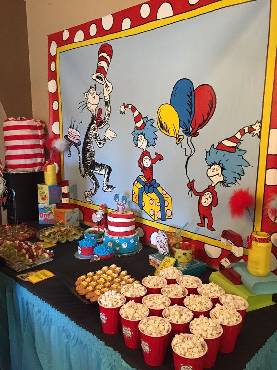Cat In The Hat Party Table Backdrop Dr Seuss By