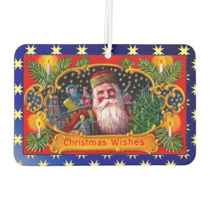 Victorian St. Nick with Gold Stars and Toys Air Freshener - Xmas ChristmasEve Christmas Eve Christmas merry xmas family kids gifts holidays Santa