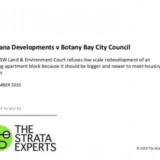 Marana Developments v Botany Bay City Council The NSW Land & Environment Court refuses low scale redevelopment of an existing apartment block because it. http://slidehot.com/resources/casewatch-marana-developments-v-botany-bay-city-council-september-2010.10153/