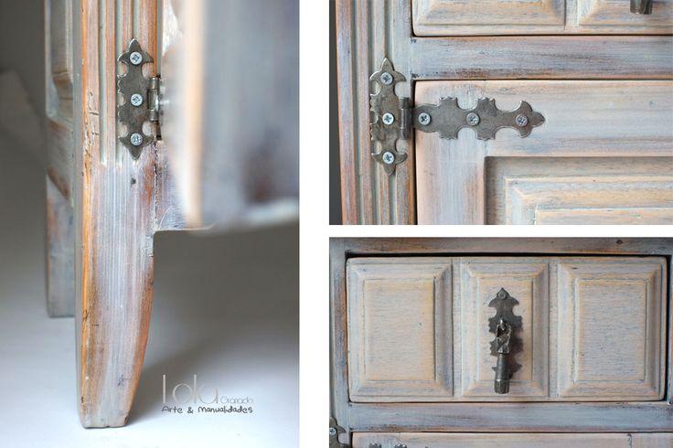 Mueble castellano pintado con efecto gastado reciclaje y - Muebles antiguos pintados ...