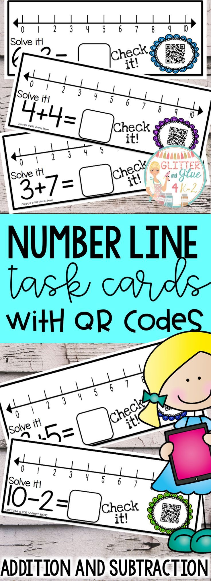 Help your students add and subtract using a number line! All you need are these printable cards and a QR Reader. This resource is perfect to introduce and reinforce addition and subtraction using a number line! The answers range from 0-10. Included are 97 task cards with addition and subtraction problems, a number line, and a QR code linked to the answer. Keywords: kindergarten, math centers, addition, subtraction, iPads, first grade, intervention, special education