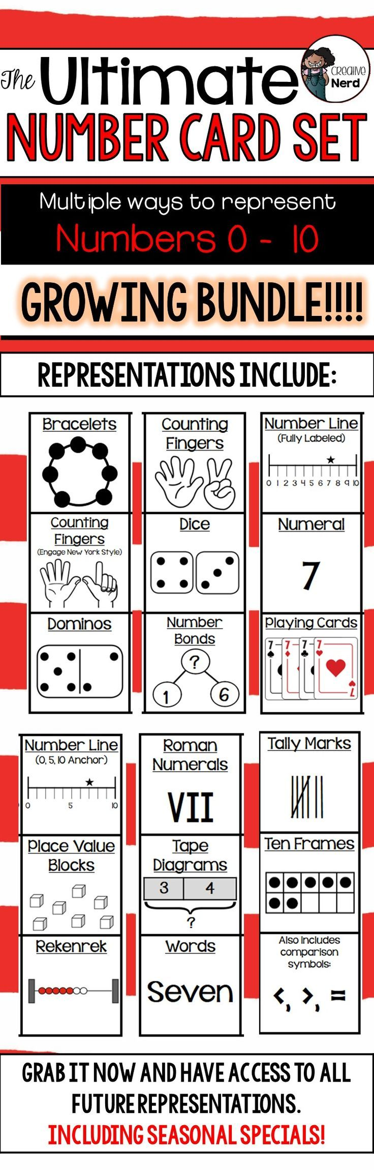 This resource provides the ultimate collection of representations for numbers 0 – 10! The cards in this set can be used for displaying numbers, morning meeting, subtilizing, number recognition, comparing numbers, composing and decomposing numbers, math centers, games, assessments…possibilities are endless! And what's even better…this is a GROWING BUNDLE! Act now and get access to all future representations, without the price increase!