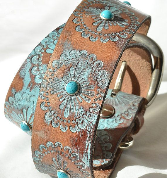 Turquoise Leather Dog Collar, Turquoise  Western Dog Collar, Custom Leather Dog Collar . Sizes Large thru XXL or custom