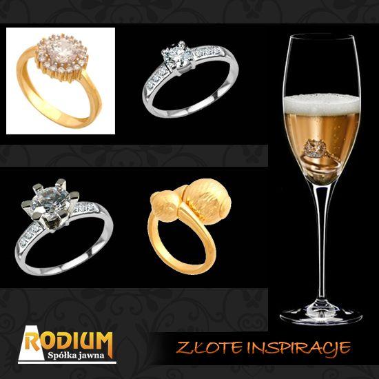 W kieliszku od szampana złoty pierścionek z brylantem na Nowy rok.