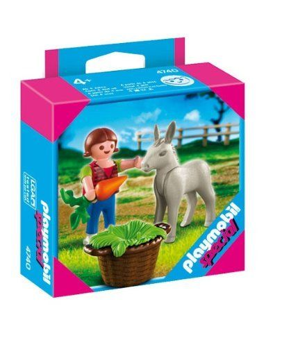Playmobil 4740 Special Child with Donkey Foal by Playmobil. $6.55. 3.9 x 3.9 x 1.4 inches. Ages 4 and up. Girl with Donkey Foal 4 years +