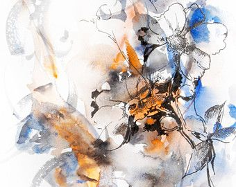 Abstract Floral Art Print from Original Mixed Media Drawing and Watercolor Painting, Orange Blue 9.5x12.5''