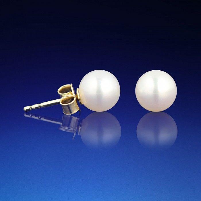 Klasické zlaté náušnice s bílou perlou