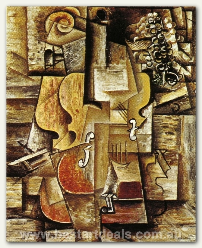 Violin and Grapes [1912] _ Pablo Picasso Oil Painting Reproduction On Canvas!  http://bestartdeals.com.au