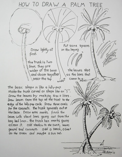 How to Draw Worksheets for Young Artist: How To Draw A Palm Tree Lesson Worksheet