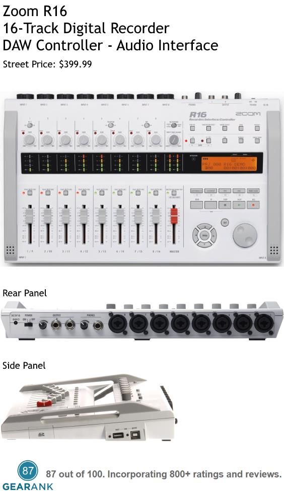 Zoom R16 16-Track Digital Recorder.  This hardware multitrack recorder can record up to 8 tracks simultaneously and mix 16 tracks simultaneously..It can also be used as an Audio Interface and a DAW Controller. Street Price: $399.99. For a detailed guide to digital multitrack recorders see https://www.gearank.com/guides/best-multitrack-recorder