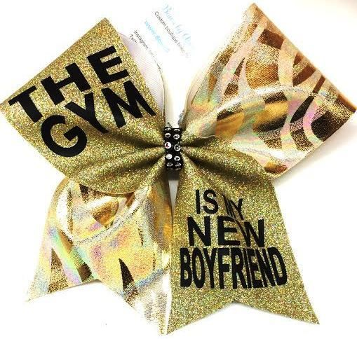 Bows by April - The GYM is My New Boyfriend Gold Glitter and Mystique Cheer Bow, $16.00 (http://www.bowsbyapril.com/the-gym-is-my-new-boyfriend-gold-glitter-and-mystique-cheer-bow/)