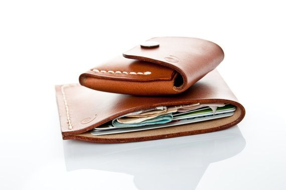 Set of two: Minimalist Wallet and Small Coin Pouch in Beech Nut,Leather Coin Purse, Minimal Leather Wallet,Leather Pouch,Mens Coin Purse,Men