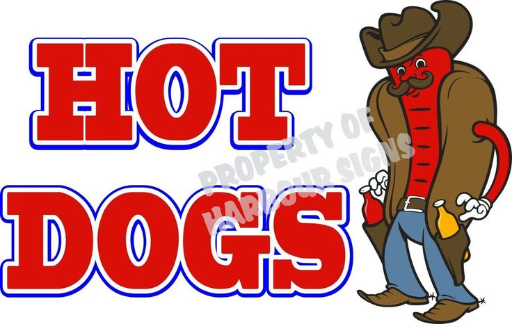"""Hot Dogs Decal 14"""" Western Theme Concession Food Truck Restaurant Vinyl Menu #HarbourSigns"""