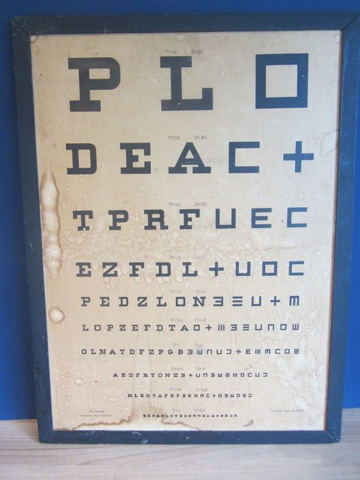 Online veilinghuis Catawiki: Leeskaart oogarts in houten lijst