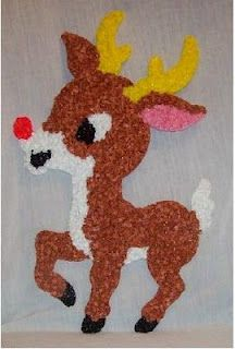 Plastic popcorn decorations...i remember these!! We had this same deer, and a santa and snowman too