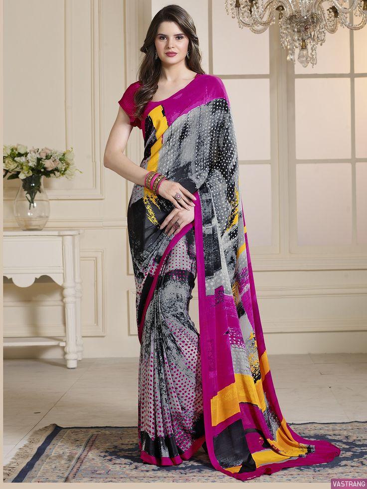 Grey Crepe Silk Designer Causal Wear Saree