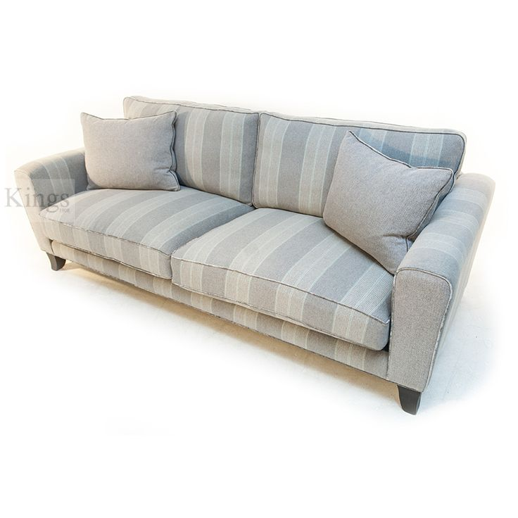 #johnsankey #voltaire #sofa grey stripe with velvet piping http://www.kingsinteriors.co.uk/clearance