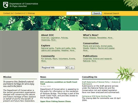 Website Supervisor, Department of Conservation, April 2004 – November  2007. This is what the DOC website looked like in 2004.