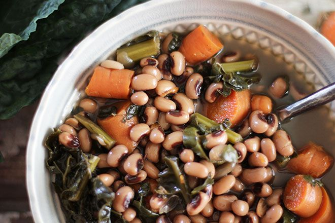 For good luck in the New Year! Black-eyed Peas and Kale Soup (saute in broth instead of oil)