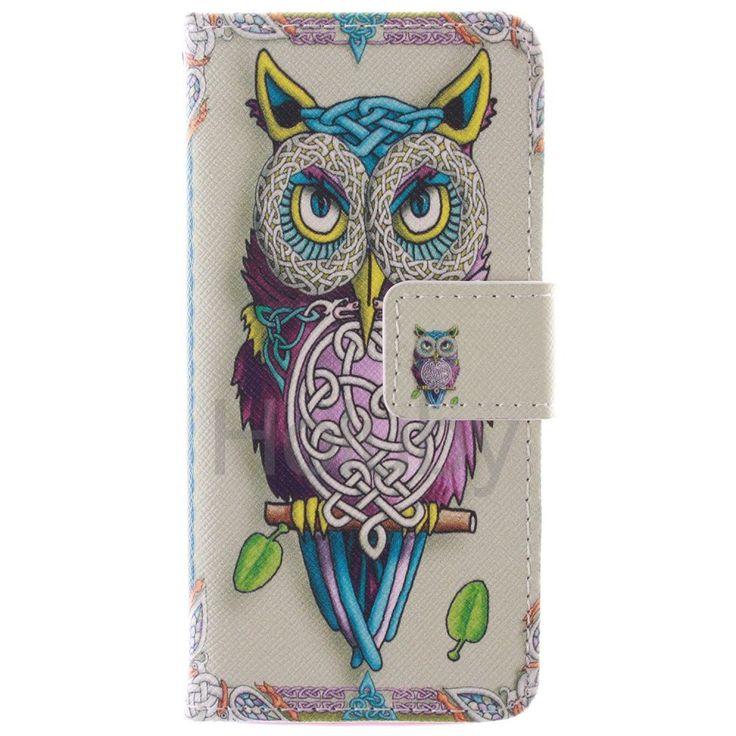 Quermuster Wallet Magnetic Schlag-Standplatz TPU   PU-Leder Tasche für iPhone 5S 5 Owl