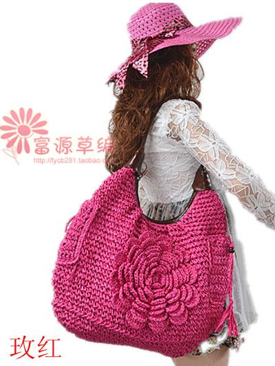 Free postage new Korean hand woven straw bag beach leisure tide Crochet Handbag Shoulder Bag petal flowers bag-inShoulder Bags from Luggage...