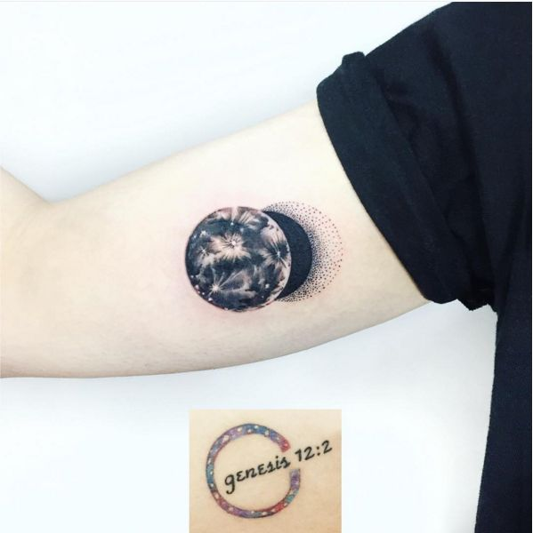 An eclipse that flawlessly covers up an old tattoo.
