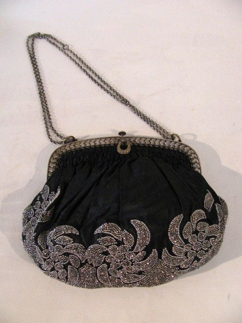 Vintage French Art Nouveau Beaded Bag With Silver by bessandevies