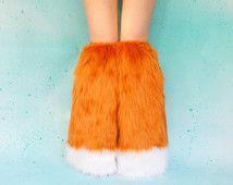Fox Inicio cubiertas envío gratuito: Traje de zorro, peluches Rave naranja, tapas de arranque, perneras de piel, Legwarmers Furry, Fox Cosplay, Rave
