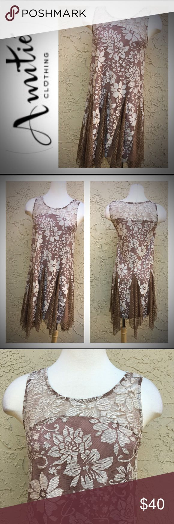 "New Brown/ Cream Lace Dress By Amitie New With Tag. Lace Floral Shark- Bite Hem. Great For Night Out, Valentine Date. Measure: 19.5"" Pit To Pit, Bust Size 36"" To 38"", 37"" Length. Amitie Dresses Midi"