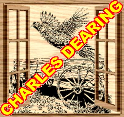 A pheasant escapes past an old tattered wagon from Scroll Saw Pattern designer Charles Dearing.