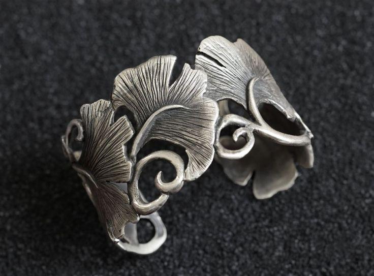 Cuff | Stefani Courtois. 'Ginkgo' Sterling silver
