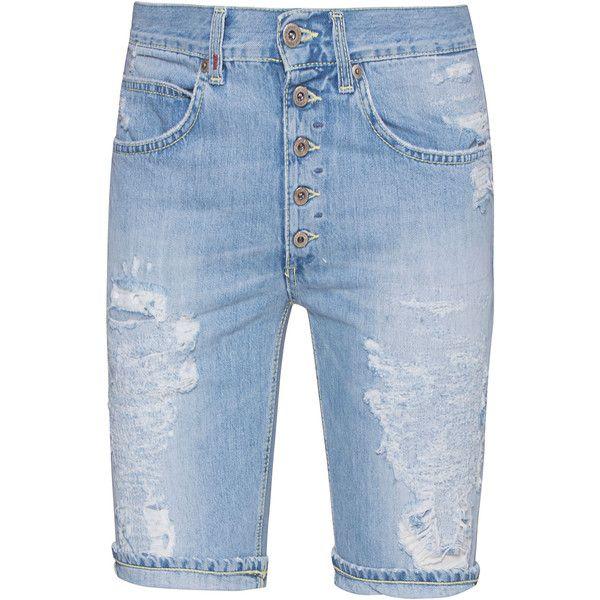 Dondup Short Light Destroy Blue // Destroyed jeans shorts ($110) ❤ liked on Polyvore featuring men's fashion, men's clothing, men's shorts, mens jean shorts, mens low rise shorts, short mens clothing, mens blue jean shorts and mens denim shorts