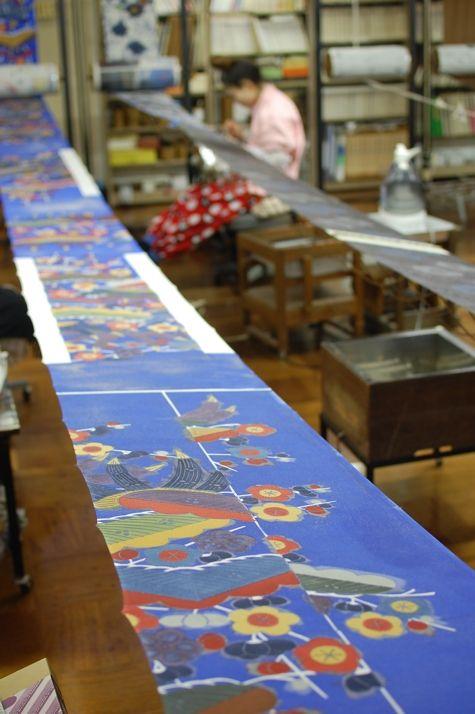 Stencil Dying for Kimono in Kyoto