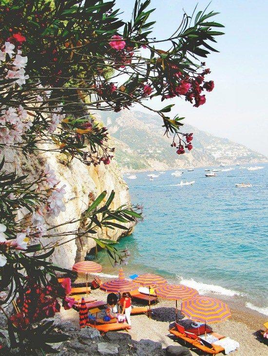 A day beneath an orange umbrella- Positano Beach